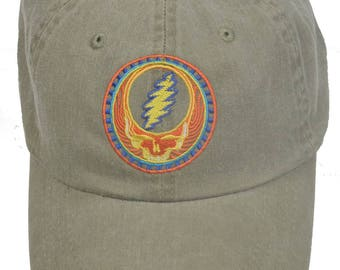 Grateful Dead Hat- Orange Sunshine Stealie Embroidered Baseball Cap / hat /Dead and Company /Steal Your Face / 13 point lightning bolt /