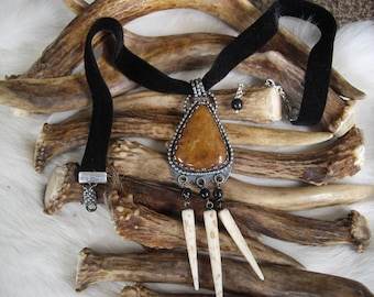 choker of brown adventurine set in sterling silver, round black agate and real bone spikes pendant necklace of black velvet