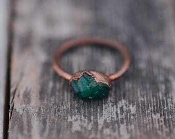 Raw Emerald Ring | May Birthstone Ring | Rough Emerald Ring | Gemstone Ring | Emerald Ring | Boho Ring |  Raw Crystal Ring | Raw Stone Ring