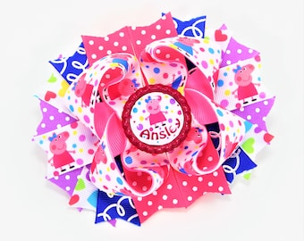 Peppa Pig Hair Bow Personalized Hairbow Peppa Pig Birthday Peppa Pig Party Peppa Pig Outfit Personalized Bow Peppa Pig Hair Clip
