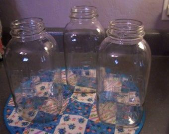 Large Clear Glass Canning Jars, 2 Qt, Hazel Atlas / Mason, Wedding, Crafts, Upcycle, 1940s 1950s, 2 QT Size