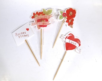 "24pc ""Love"" tooth pick / cake topper (D64)"