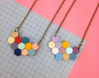Geometric Hexagon Necklace - Bee Jewellery - Honeycomb Necklace - Gifts For Bee Lovers - Wooden Jewellery - Laser Cut - Geometric Jewellery