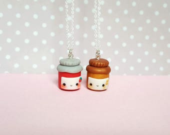 Friendship peanut butter & jelly keychain, kawaii charm, bff necklace, friendship necklace, food jewelry, best friend keychain, food pendant