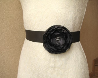Dark gray sash Bridal floral belt Wedding accessory Bridesmaid dress sash charcoal gray