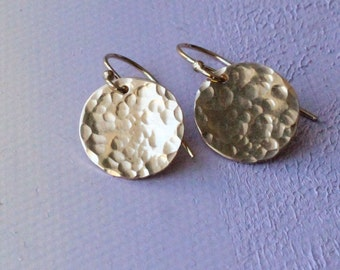 Hammered Gold Earrings, Simple Gold Earrings, everyday earrings, textured gold earrings, gold circle earrings, gold dangle earrings