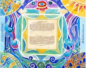 Custom Ketubah - Ketubahs - Jewish Marriage contract - wedding vows - Jewish Judaica Art Print - Four Seasons trees ketubah
