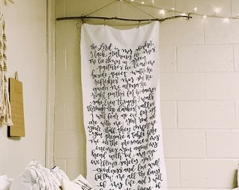 PSALM 23 - Handpainted Long Wall Tapestry