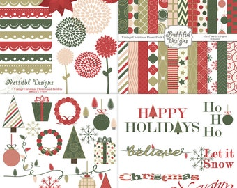 Christmas Digital Scrapbook Kit with Papers, Frames, and Clip Art - Vintage Christmas
