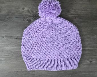 Lavender Pom Pom Hat