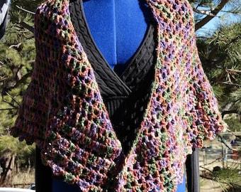 AUTUMN SPLENDOR Hand Crocheted Triangle Shawl made with LUXURY yarn Alpaca, Merino, Glitz Ready To Ship