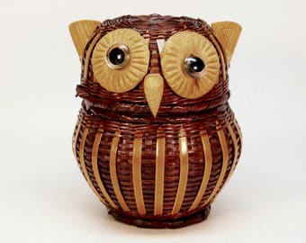 Cute vintage small owl basket with lid bamboo wicker wood