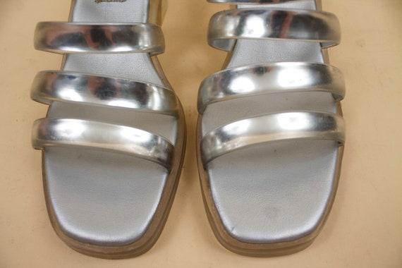 Slide Heel Summer Beach Grunge Platform Strappy Chunky Metallic Mule Glam Vtg Plastic Silver 37 Eu 7 90s Cage 5 Sandal JELLY w7ax1qzc6O