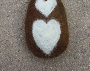 Humble Farm Homemade Hand Felted Soap Brown With Heart