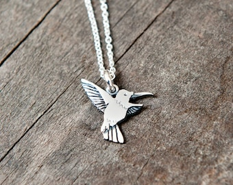 Humming-bird pendant sterling silver / bird necklace / chain / 925 / nature / valentine gift