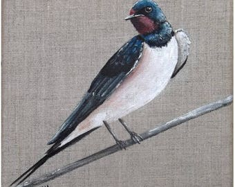 """Painting on linen """"swallow"""", 20 x 20 cm"""