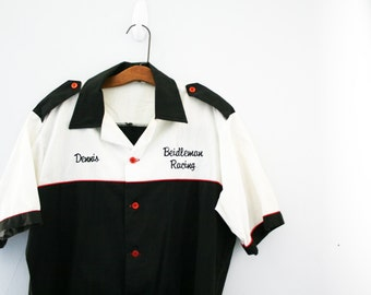 vintage 80s Race Car Driver Black & White Mens Shirt Halloween Costume M L