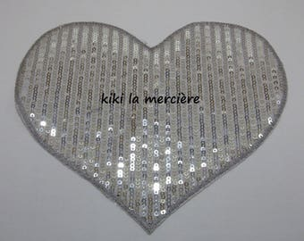patch, applique, patch of shiny sequins, a silver heart large sequins sewing