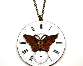 Steampunk Butterfly Necklace, Watch Face Necklace, Enamel Dial, Watch Dial Necklace