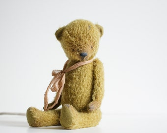 Made To Order Yellow Mohair Teddy Bear Silk Bowl 12 Inches Stuffed Animal Artist Teddy Bear Handmade Toy Soft Toys Personalized Gift For Mom
