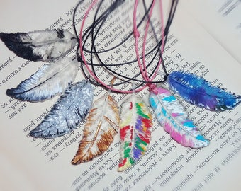 A feather for good luck. Jewelry pendant. Еpoxy resin
