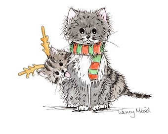 CHRISTMAS Cat Greeting Card, Original Doodle Illustration Printed A5 Card with Envelope