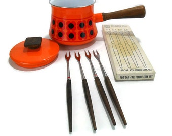 Vintage Teak Fondue Fork Set * Danish Modern Design