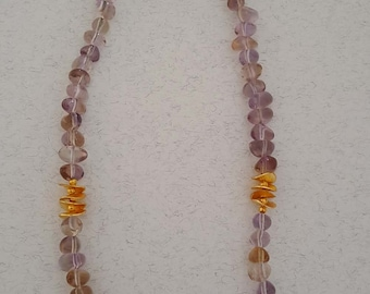 Natural Ametrine,  Amethyst, Gold Filled Beads Necklace with Gold Filled  Clasp (BEADJ1148)