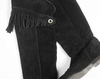 Schwarze Vintage Fransen Stiefel Größe 37 Wildleder Schuhe Gefüttert Dark Hippie Boho Festival Cowboy Grunge Punk Goth Gothic