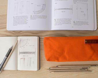 STOCK POUCH | Lightly Waxed Canvas Zipper Case | Optional Personalization | Orange
