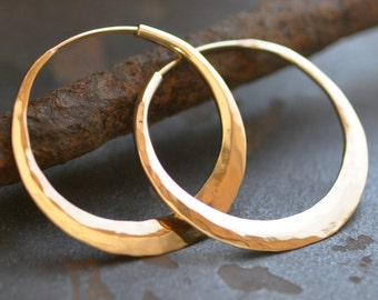 Solid 14k gold hoop, hammered endless style hoop earring small, medium, large, wide, thick round hoop, eco friendly jewelry