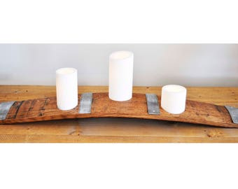 Barrel Stave Candle Holder with three LED candles. Made from retired oak wine barrel