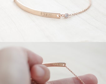 Bridesmaid Bracelet - Rose Gold Bridesmaid Jewelry - Bridesmaid Jewelry Rose Gold - Rose Gold Bridesmaid Bracelet - Name Bracelet