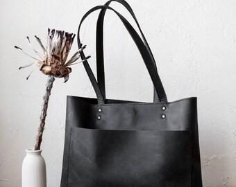 Medium Black Matte Leather Tote bag, Front Pocket Bag