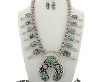 Damele Turquoise Squash Blossom Necklace Set