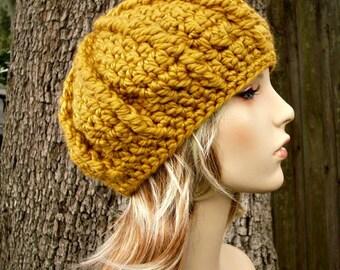Crochet Hat Womens Hat - Oversized Monarch Ribbed Beret Golden Rod Mustard Yellow Crochet Hat - Yellow Hat Yellow Beret Womens Accessories