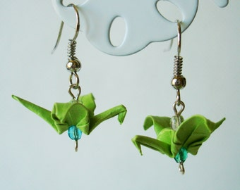 Handmade Origami Earrings with Cranes of Happiness Metallic Paper Green and Aquamarine Glitter