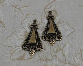 LuxeOrnaments Oxidized Brass Filigree Dapped Pyramid Pendant (Qty 2) 35x16mm S-8245-B