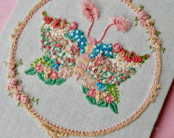 Spring Moth * Hand Embroidered Needle Art * One Of A Kind