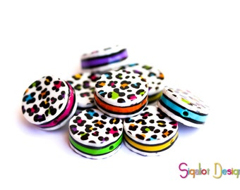 Polymer clay round flat beads - Leopard beads - colorful festival tambourine beads 20mm (8)