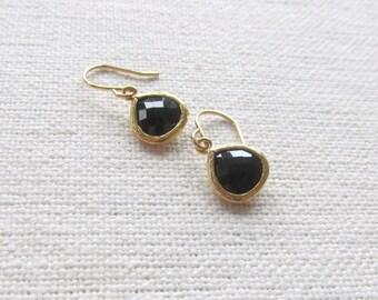 Dainty Gold Earrings, Modern Black Glass Dangle Earrings
