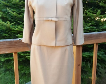 60s Mink Collar Suit Light Brown / Tan Skirt and Jacket Size Small