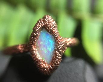Opal Electroformed Ring I Boho Ring Size 8.25 Stacking Ring