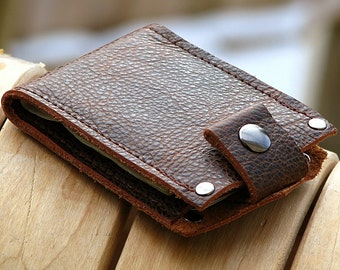 Brown Leather Snap Wallet for Men, Billfold, bilfold, Minimalist Slim Hand Made
