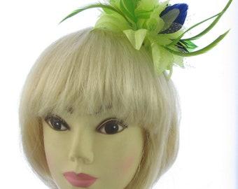 Green and navy blue fascinator headband,weddings,races, Ladies day