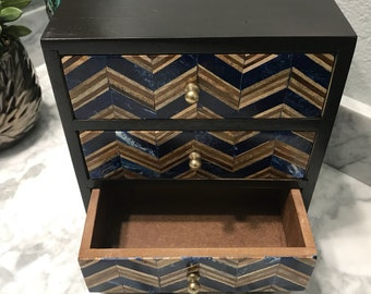 Jewelry Dresser Drawer Hand Painted Wooden Box, Recycled Reclaimed Wood, Marquetry Inlay Drawer Fronts Accessory Cabinet, Item #598745209