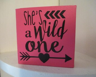 She's a Wild One Arrow Pink Sign Home Decor Shelf Sitter Jenuine Crafts