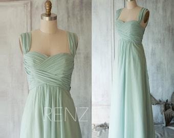 Bridesmaid Dress Dusty Mint Chiffon Dress,Double Straps Party Dress,Sweetheart Empire Waist Dress,A-Line Prom Dress,Ruched Maxi Dress(T080)