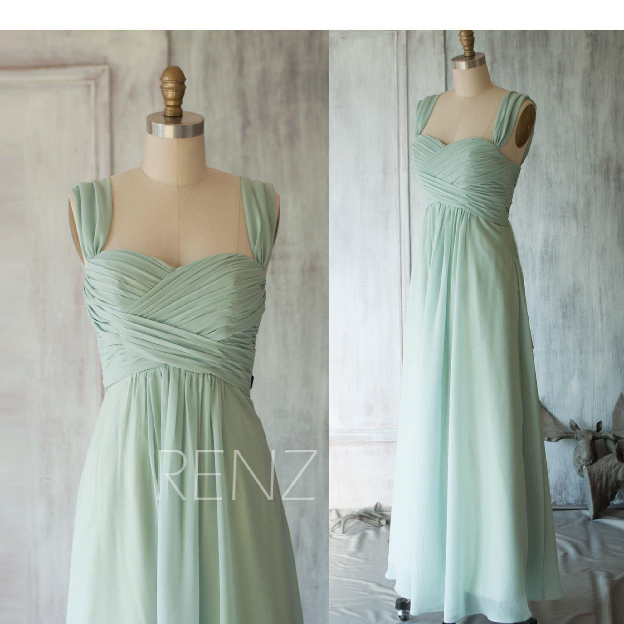 Bridesmaid Dress Dusty Mint Chiffon DressDouble Straps Party