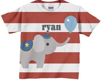Circus Birthday Shirt,  Personalized Carnival Elephant T-Shirt, Childrens Clothing